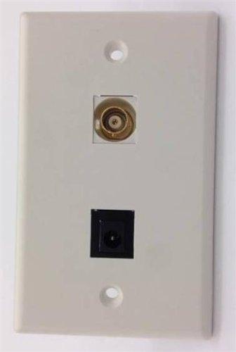 CERTICABLE WHITE SINGLE GANG CUSTOM DESIGNED WALL PLATE - 2.1mm POWER SOCKET PLUG & BNC FEMALE RG59 18/2