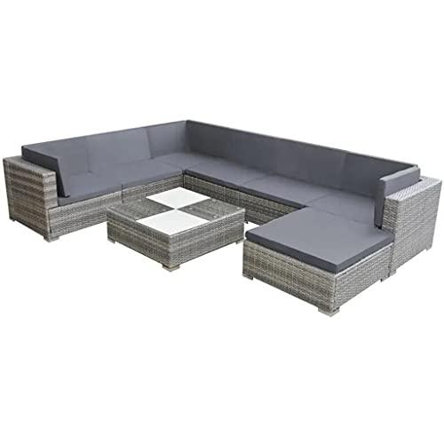 xiangnan 8 unids al aire libre Rattan sofá jardín salón conjunto muebles de jardín conjunto diálogo conjunto con cojines Poly Rattan gris para muebles al aire libre