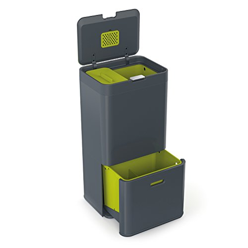Joseph Joseph 30002 Intelligent Waste Totem Kitchen Trash Can and Recycle Bin Unit with Compost Bin, 16 gallon / 60 liter, Graphite