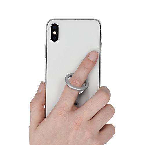 kwmobile Smartphone Ring Fingerhalter aus Metall - 360° drehbare Ringhalter Handy Fingerhalterung mit Standfunktion - Handyring Halterung Silber