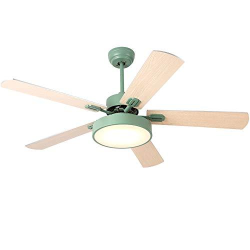 RXM binnenplafondventilator verlichting hoge wind woonkamer eetkamer huis slaapkamer plafond met ventilator geïntegreerd houten lemmet [energieklasse A ++] (kleur: groen)