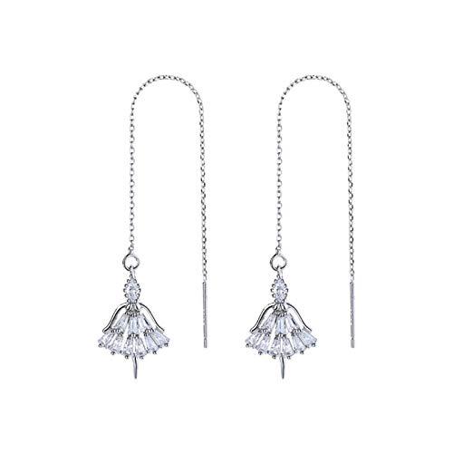 CQOQ Diseño De Moda Sterling Silver Ladies Long Borla Pendientes Zircon Crystal Cadena Borla Collar