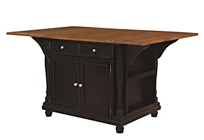 Slater 2-drawer Kitchen Island with Drop Leaves Brown and Black from Coaster Home Furnishings
