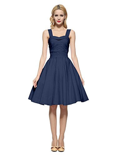 Maggie Tang 50 60s Vintage Cocktail Swing Rockabilly Ball Gown Dress Navyblue M