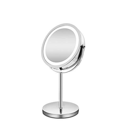 CRYPY 10x Specchio per Il Trucco del Desktop ingranditore con Luce LED 360 Rotazione Doppio Lato LED 7inch Illuminato Specchio comestico