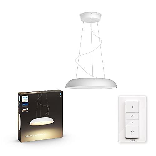 Philips Hue White Ambiance Amaze Lampada a Sospensione Smart, con Bluetooth, LED Integrato, Telecomando Hue Dimmer Switch Incluso 39 W, Bianco
