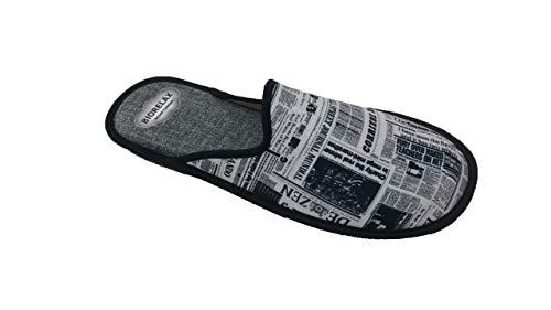 Zapatillas de Estar por casa/Biorelax/Primavera-Verano/Periódico/Color Gris/Puntera Tapada/con Cámara de Aire/Talla 43