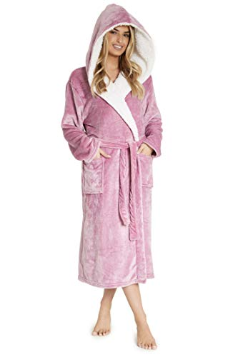 CityComfort Luxury Dressing Gown for Ladies Super Soft Fleece Bathrobe (M, Orchid Pink)