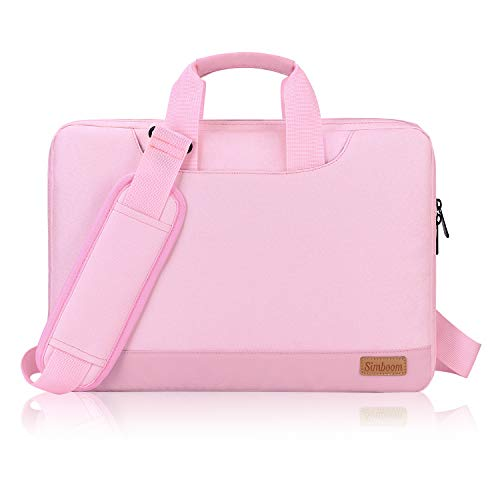 Simboom 15.6 Inch Laptop Sleeve Bag with Shoulder Strap for Women Girls, Portable Tablet Briefcase Waterproof with Accessories Organizer Pouch for 15 15.6 Inch Acer / Asus / Dell / HP / Lenovo - Pink