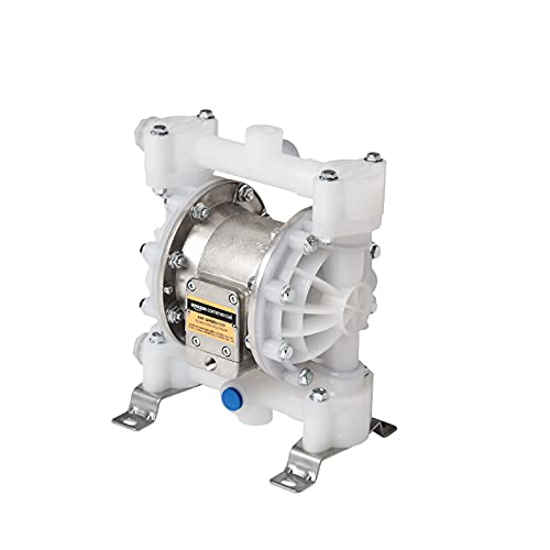AmazonCommercial Heavy Duty Double Diaphragm Transfer Pump 1/2' FPM / FKM - 13GPM / 50LPM Polypropylene Air Operated Pneumatic for Bio-diesel, Windscreen & Similar Chemicals