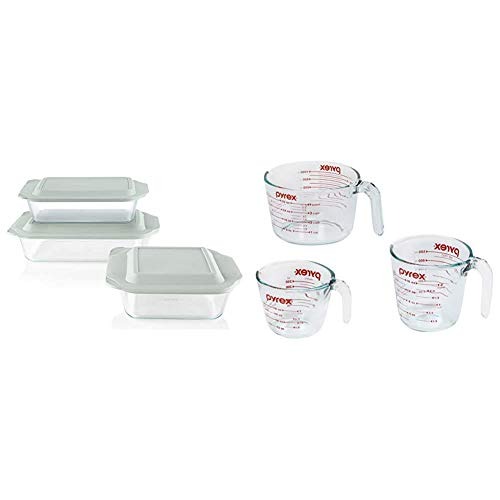 Pyrex Deep Baking Dish Set (6-Piece, BPA-Free Lids) & Glass Measuring Cup Set (3-Piece, Microwave and Oven Safe),Clear