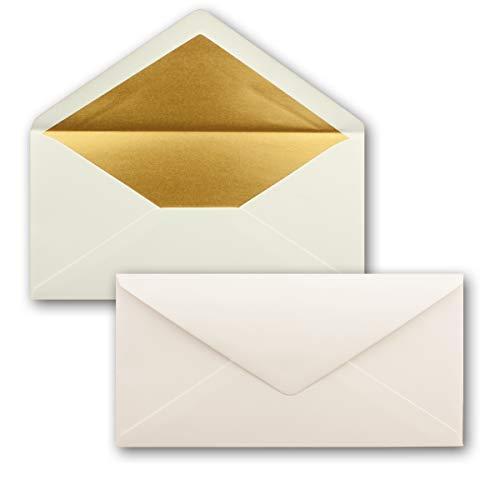 50 Brief-Umschläge DIN Lang - Naturweiss mit Gold-Metallic Innen-Futter - 110 x 220 mm - Nassklebung - Festliche Kuverts für Weihnachten