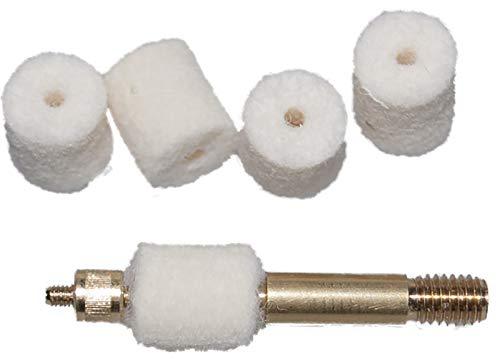 Flachberg VFG Filz Laufreiniger Set Filzlaufreiniger - 9mm Luger/para (50 Stück) + Adapter 1/8 Zoll und M5 Waffenreinigungsset