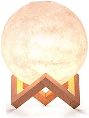 Moon Lamp 3D LED Dimmable Moon Light,3 Warm Luna Colours,5.9 inch Rechargeable Glowing Moon Globe for Kids.Bonus down...