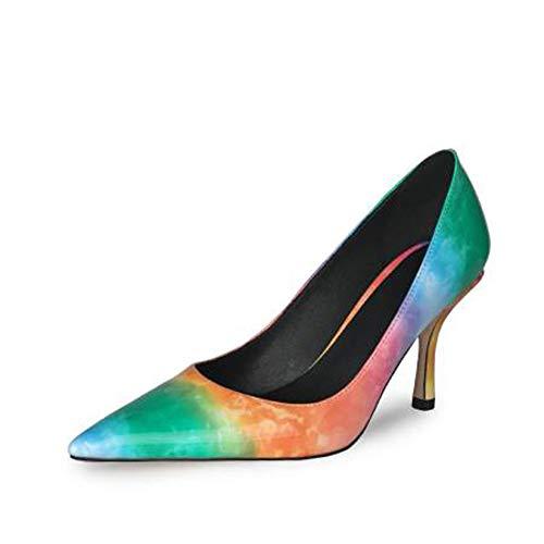 XIANWFBJ Damen High Heels, Neue Spring Mid-Heel Lackschuhe, für alle Gelegenheiten geeignet, in Zwei Farben erhältlich,Grün,37