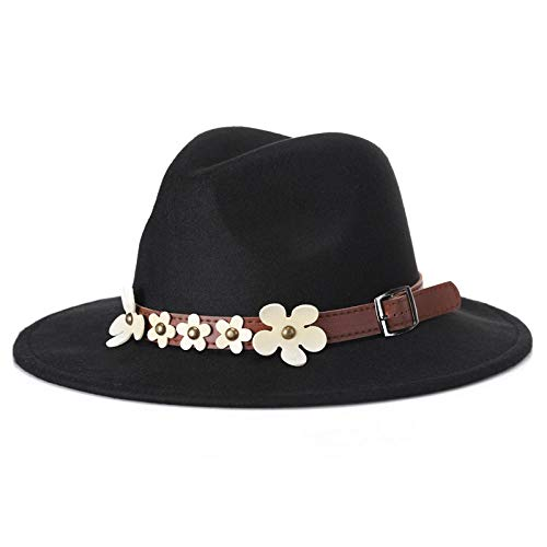 YYT Damenhut, Herbst und Winter, fünf kleine weiße Blüten, Warmer Fashion-Jazz-Hut-Schwarz_56-59cm (einstellbar)