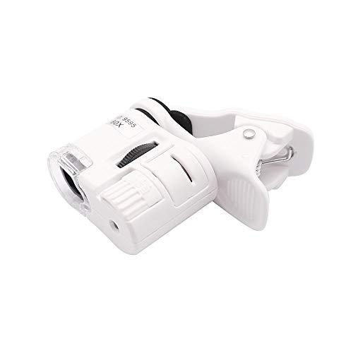 QiCheng&LYS, Obiettivo per smartphone, obiettivo per smartphone 60 volte, lente di ingrandimento universale LED + UV micro clip (60X, bianco)