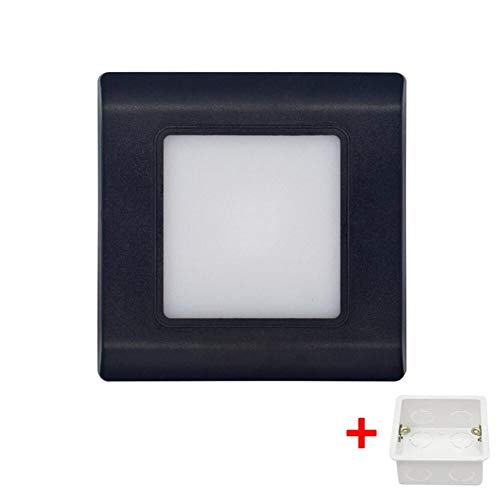 RAQ Led trapverlichting wandlamp vierkant inbouw stappenlamp versnelling lichten voetlicht inbedde wanden verlichting met 2.5W Zwart met doos.