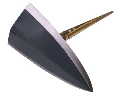 千成 三角鎌草削り鍬 鍛造鋼付八寸刃240mm 色仕上げボルト止 焼木柄四尺