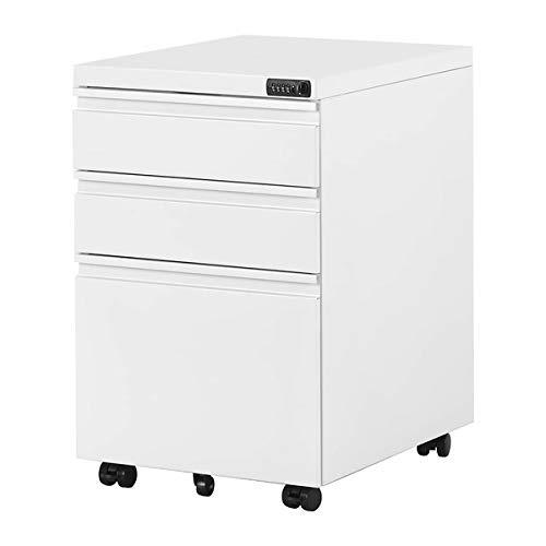 Cajonera con ruedas para oficina con números y 3 cajones, acabado sólido, ideal para escritorio, muebles de oficina, contenedores, contenedores con ruedas