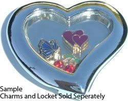 Clearly Charming Crystal Heart Key Floating Charm Locket Necklace