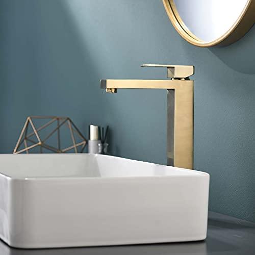 TIMACO Grifo de baño dorado de alta calidad, grifo mezclador para baño, grifo de lavabo alto, diseño moderno
