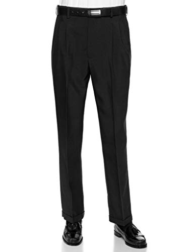 RGM Men's Pleated Dress Pants Work to Weekend - Comfortable and Lightweight - Expandable Waist BlackExpandable 42 Short