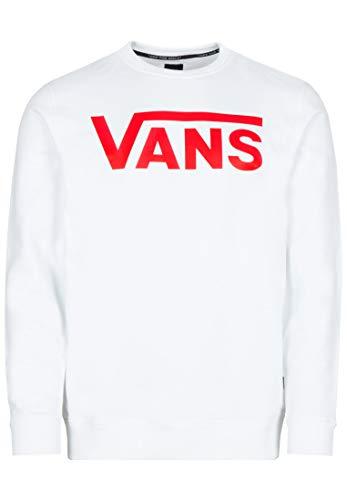 Vans Classic Crew II Sweat-Shirt, Blanc (White-Racing Red Ksf), X-Small Homme