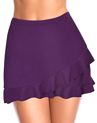 SHEKINI Mujer Corto Falda de baño con Pantalones de Bikini Elástica Corto Natación