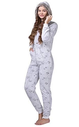 maluuna - Damen Fleece-Onesie mit Bündchen an Arm- und Beinabschluss, extrem kuscheliger Damen Jumpsuit, Overall mit Fell, Einteiler, Homewear, Farbe:beige, Größe:36-38