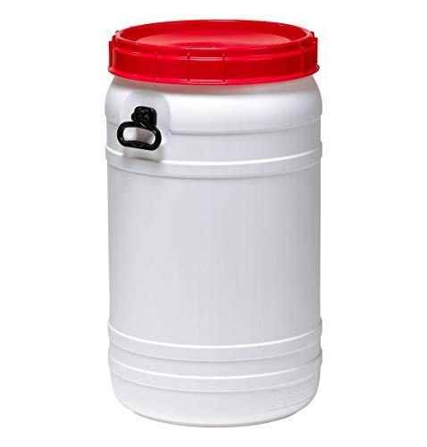 Curtec HDPE Superweithalsfass 110l, XL-Einfüllöffnung, mit roten Schraubdeckel, stapelbar, wasserdicht, naturweiß