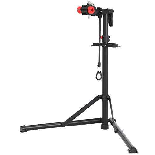 SONGMICS Fahrradmontageständer, Reparaturständer für Fahrräder, Schwerlast-Montageständer, Fahrradständer mit Schnelllösevorrichtungen, verschweißter Klemmkopf, um 360° drehbar, schwarz-rot SBR07B