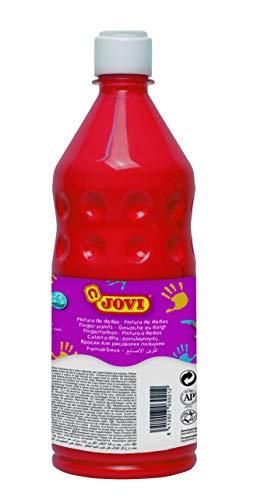 Jovi Fingerfarbe für Kinder ab 2 Jahren, gute Deckkraft, cremige Konsistenz, unbedenkliche Inhaltsstoffe, 1 Flasche, 750 ml, rot