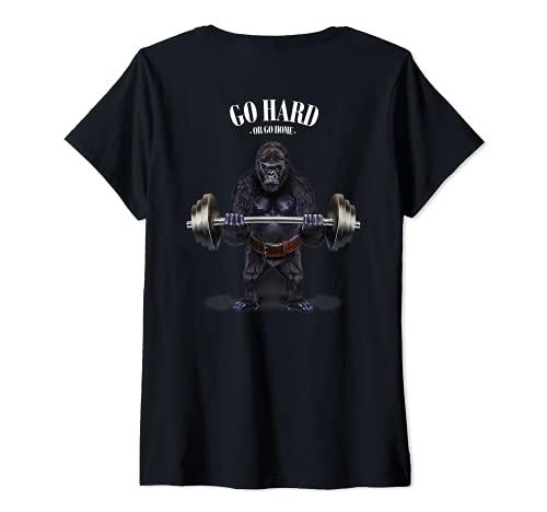 Mujer Gorila levantando pesas en el gimnasio. Camiseta Cuello V