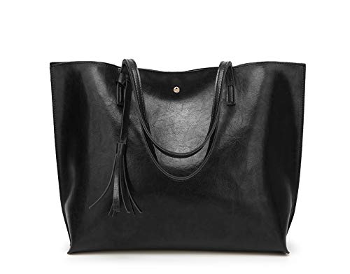 Women's Soft Faux Leather Tote Shoulder Bag from Dreubea, Big Capacity Tassel Handbag Black New