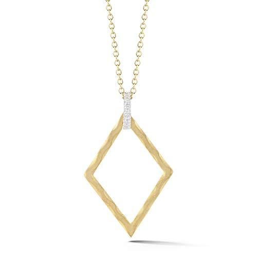 14K Yellow Gold 0.06ct TDW Diamond Accent Diamond-shape Pendant Necklace (0.06 Ct Tdw Diamond)