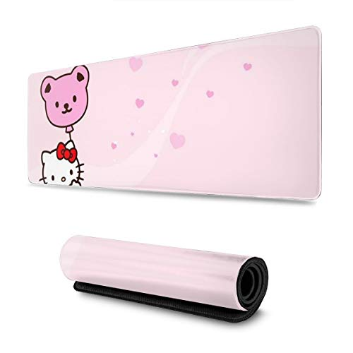 Extended Mouse Pad - Hello Kitty Happy Time XXL Gaming Computer Mousepad 31.5 X 11.8 X 0.12inch