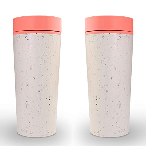 Circular & Co. Travel Mug (16oz, Set of 2) - The World's First Reusable Mug Made from Recycled Coffee Cups, 100% Leak-Proof, Sustainable & Insulated, Sunset Coral