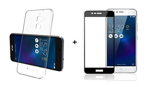 compatibile per ASUS ZENFONE 3 MAX ZC520TL X008D schermo (5.2) Custodia COVER soft slim GEL silicone TPU trasparente + PELLICOLA vetro TEMPERATO antiurto GLASS FULL SCREEN 5D cornice NERO