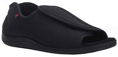YURUMA Hombres Mujer X-Ancho Ajustable Zapatos Turgente Pies Pantufla, Anciano Velcr Cómodo Sandalia, Diabético Obesidad Zapatillas 36-51 (D/Negro (Verano), 39/US 8.5 Mujer/UK 5)