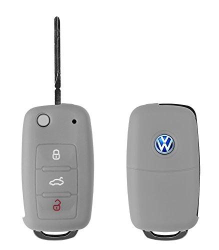 Yayago Silikon Hülle für VW Skoda Seat 3-Tasten Autoschlüssel Schlüssel Schutzhülle Etui Key Case KFZ Schutz Cover in grau