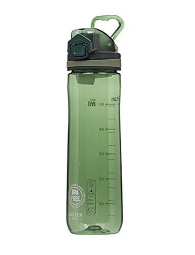 LLJPFD7J Wasserflasche, auslaufsichere 600 ml-Weithalsflasche mit Skala, perfekt for Getränkehalter, geeignet for Campingausflüge im Freien (Color : Green)