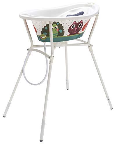 Rotho Babydesign Set de Bain Complet Oops StyLe! avec Baignoire et Support Pliable, 0-12 Mois, Max 25 kg, Blanc, 2106000010101