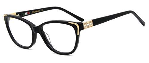 FERAVIA Frauen Marke Qualität Brillen Mode Design nicht verschreibungspflichtige Brillenfassungen mit Strass schwarz Farbe
