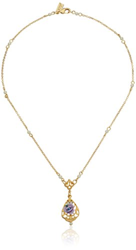 1928 Jewelry 14k Gold-Dipped Vintage-Inspired Porcelain Rose with Lavender Crystal Accent Necklace, 17