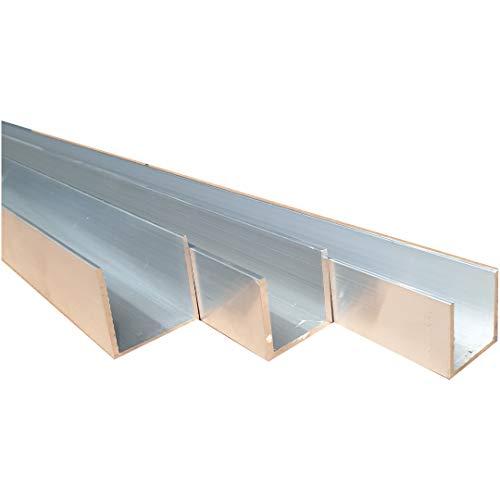 Aluminium U-Profil Aluprofil Alu U-Schiene Aluminiumprofil U-Leiste blank AlMg (15 x 15 x 15 x 2 mm, Länge: 1.000 mm)