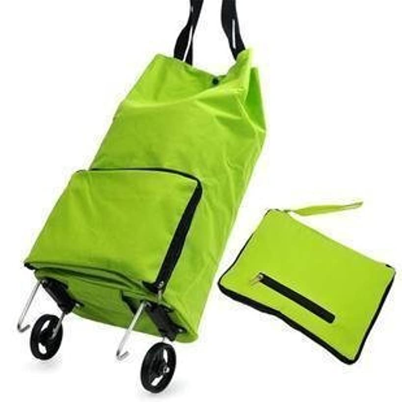 Lunar baby Collapsible Foldable Rolling Shopping Bag on Wheels, Reusable Folding Shopping Cart Trolley Bag with Wheel, (Green)