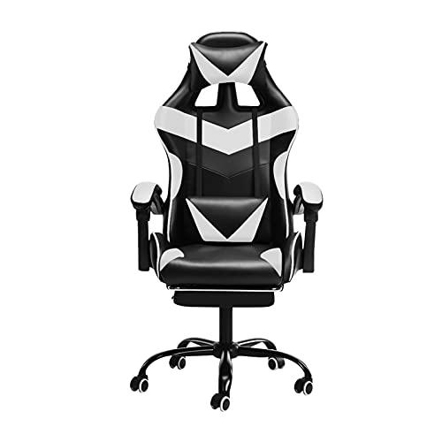 Silla de oficina Oficina de silla de juego con reposapiés Silla ergonómica de oficina regular de cuero giratorio de cuero alto de espalda, silla de escritorio de la computadora con reposacabezas por Q