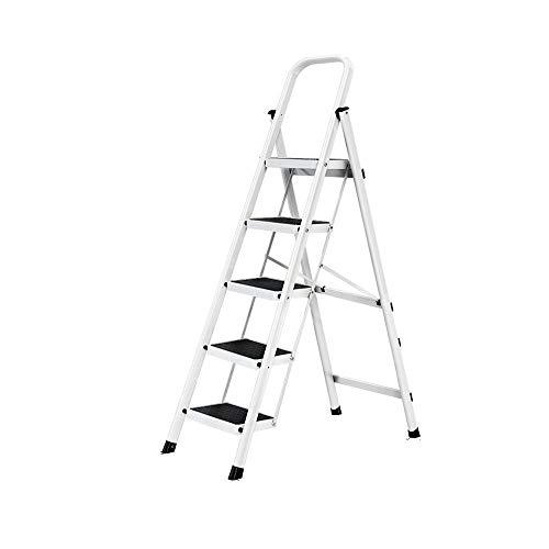 3 Peldaños Plegable Escalera De Mano Hogar 4 5 Peldaños Aleación De Aluminio Escalera Interior Y Exterior Estante Soporte De Flores Soporte De Carga 150 Kg 5 Pasos En Blanco
