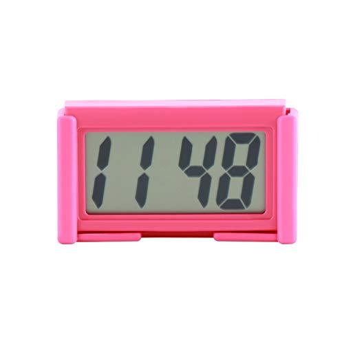 DZSW Cmdzsw Interior Coche Automático Panel de Control Escritorio Reloj Digital Pantalla LCD Soporte Autoadhesivo Reloj de Coche Reloj de plástico Reloj (Color : Red)
